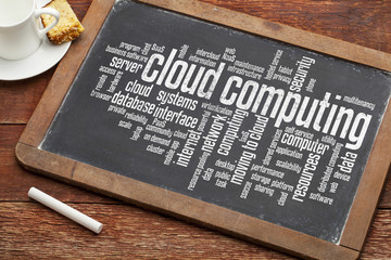 Wall Mural - cloud computing on blackboard