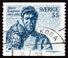 Postage stamp Sweden 1969 Albert Engstrom, Self-portrait, Artist