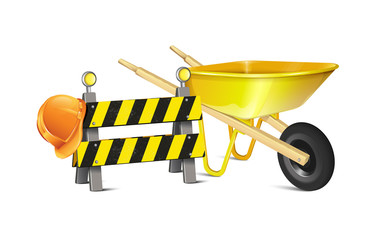 Road Barrier With Hard Hat And Wheelbarrow