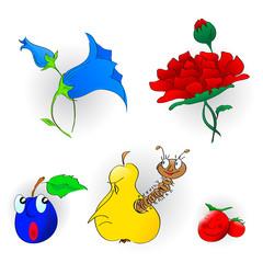 Cartoon flowers and fruits
