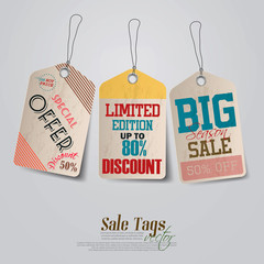 Vintage Sale Tags Design. Vector