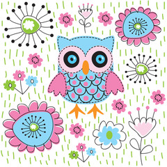 Cute owl floral garden vector illustration