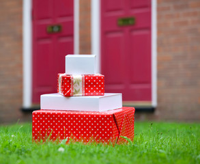 Christmas gift boxes delivered to house front door