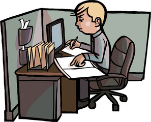 Cartoon Office Worker Examines Books in Cubicle