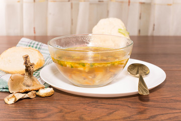 Glass bowl of soup