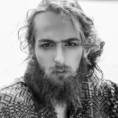 closeup wild hipster face long beard