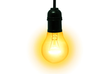 bulb of yellow light on white space