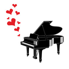 Heart love music piano