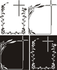 obituary - art deco frames with cross