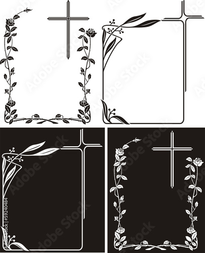 obituary art deco frames with cross