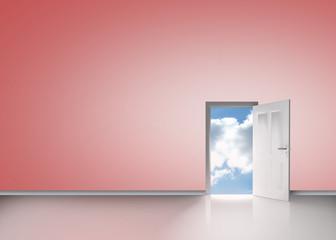 Door opening showing blue sky