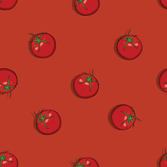 vector seamless pattern of tomatoes