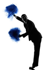 business man cheerleading silhouette