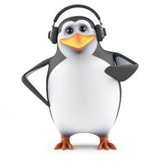 Cute penguin in headphones