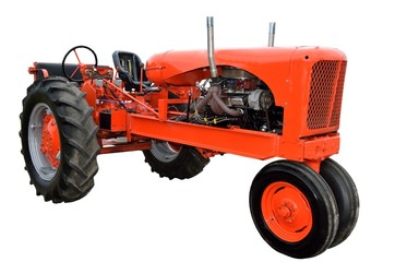 restored tractor isolated with a white background