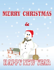 Snowman leaning against the snow shovel greeting card