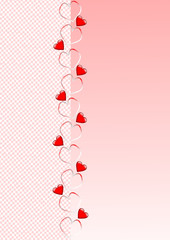 Valentinstag verschiedene Herzen auf rosa Hintergrund