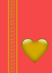 Valentinstag goldenes Herz auf rotem Hintergrund
