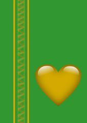 Valentinstag goldenes Herz auf grünem Hintergrund