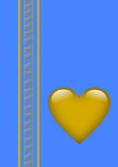Valentinstag goldenes Herz auf blauem Hintergrund
