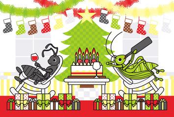 クリスマスカード用イラスト「アリとキリギリスのChristmas holidays」ポストカードサイズ