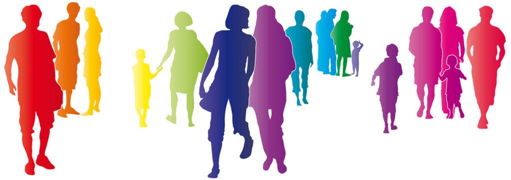 Bunte Menschen in der Stadt mit Abstand, kleine Gruppe von Personen, Solidarität, silhouette vektor, set Männer und Frauen, Familie, in Gemeinschaft sein, Zukunft aktiv gestalten, Generation