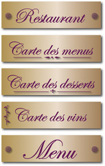 Plaquettes restaurant, menu, carte.