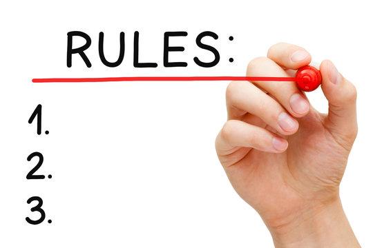 Hand Writing Blank Rules List