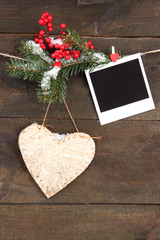 Decorative heart and empty photo paper