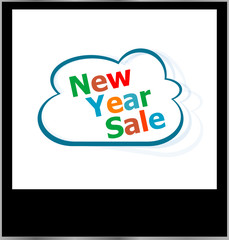 new year sale word cloud on photo frame, isolated