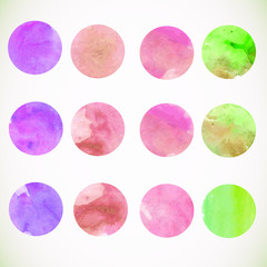 Watercolor circle design elements