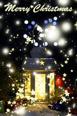Decorative glowing lantern at night