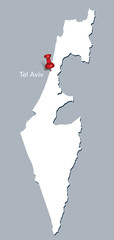map of Israel with red push pin indicating Tel Aviv
