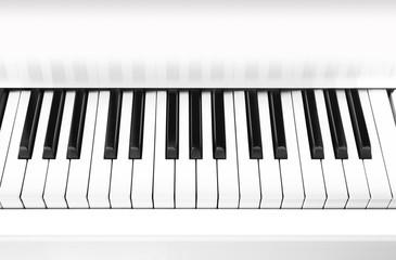 White grand piano key closeup, background.