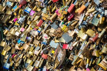 Locks of love at Paris bridge