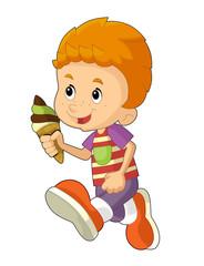 Cartoon child having fun - illustration for the children
