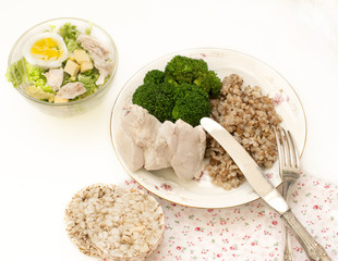 buckwheat with chicken breast and broccoli salad for lunch