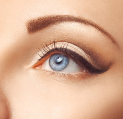 Close up photo of female blue eye