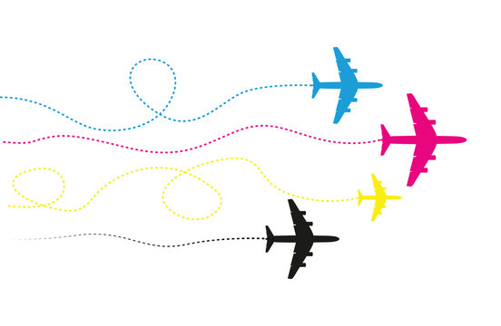 four cmyk airplanes