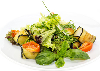 salad with cheese and herbs and vegetables