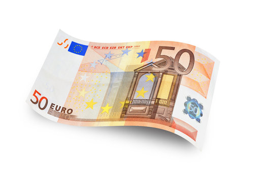 Close up fifty euro banknote. Isolated on white background