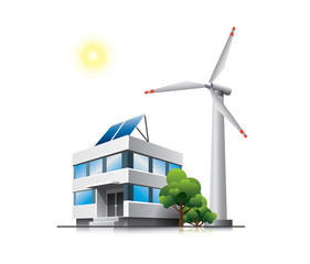 Sustainable office with solar panels and wind turbine
