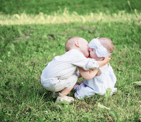 two little children outdoor