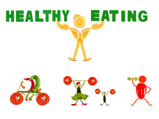 Healthy eating. Little funny people made of vegetables and fruit