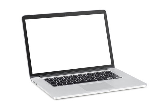 laptop with tilted back white monitor mockup