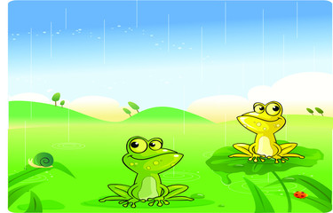 frog cartoon with background