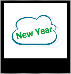 new year word on cloud, isolated photo frame