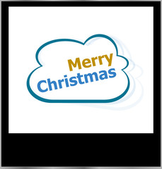 merry christmas word on cloud, isolated photo frame