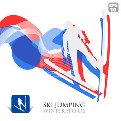 Vector Winter Sports background with Ski jumper and icon