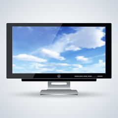 3d monitor with sky wallpaper vector illustration